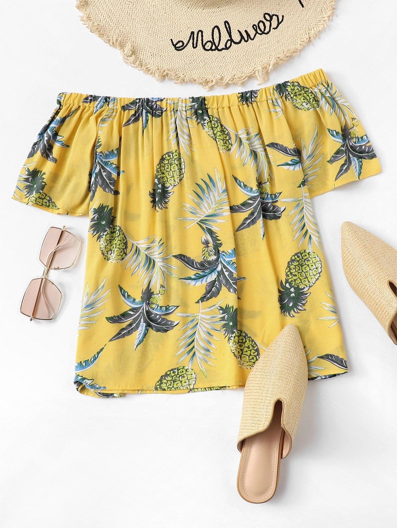 Купить Повседневный Тропический Черный Блузы+рубашки, null, SheIn