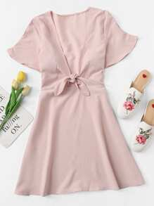Knot Front Solid Dress