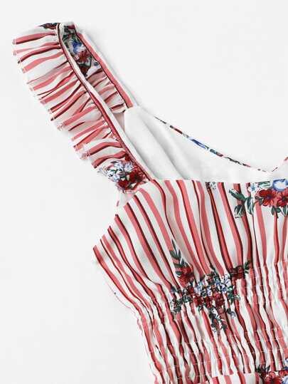 Romwe / Frill Trim Floral Print Striped Dress