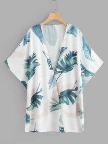 Leaf Print Open Front Kimono