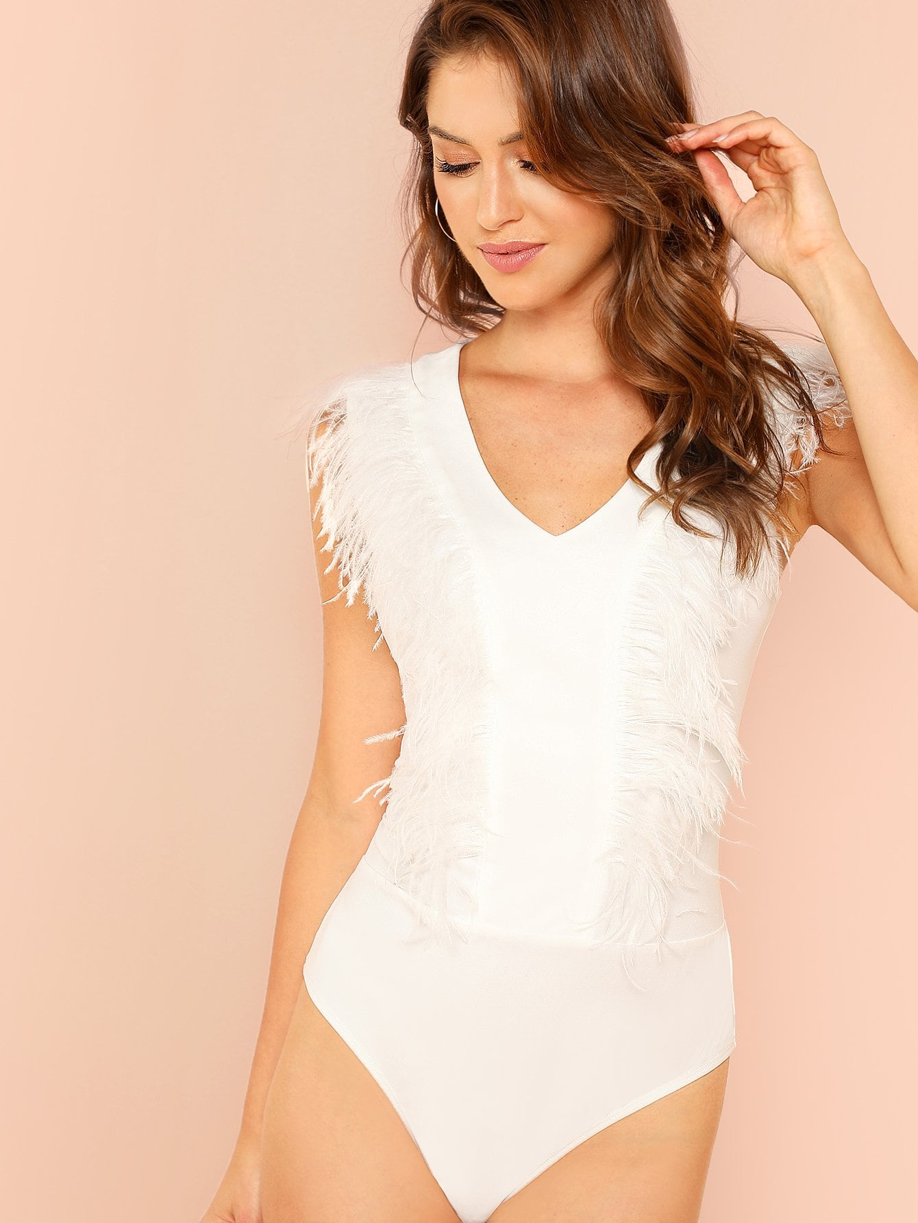 Faux Feather Embellished Bodysuit faux ostrich feather fur nipple covers