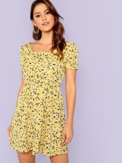 Ruffle Cuff Calico Print Dress