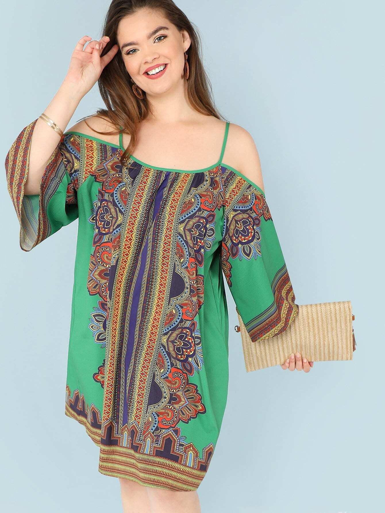 Купить Изысканное печатное платье с коротким рукавом, Faith Bowman, SheIn