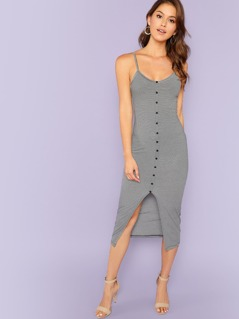 Button Front Split Striped Cami Dress