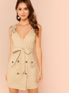 Adjustable Strap Pocket Side Belted Dress