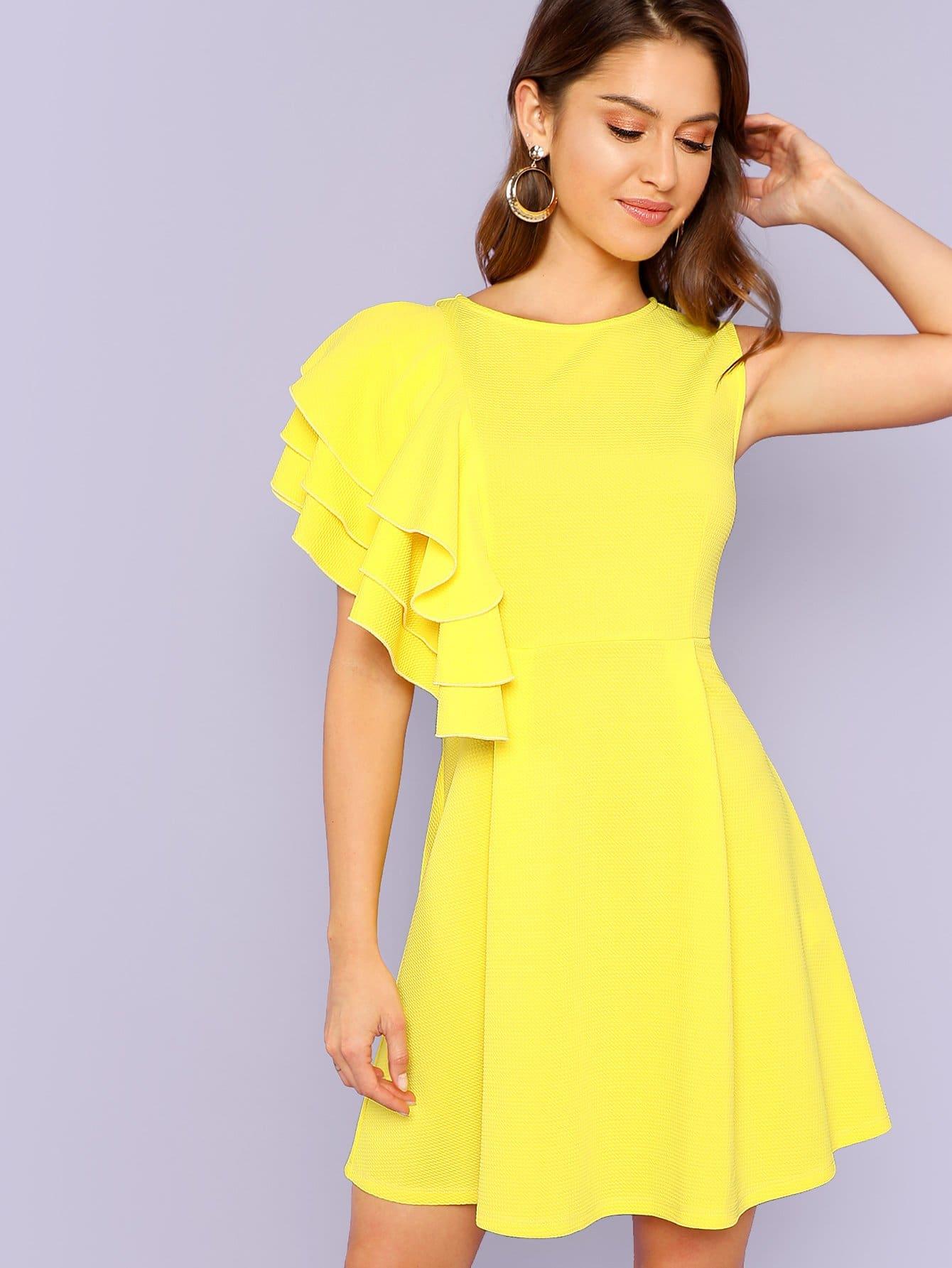 Layered Ruffle Trim Fit and Flare Dress fit and flare patterned dress