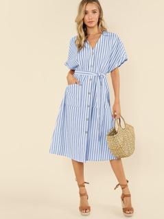 Button Up Pocket Front Belted Striped Dress