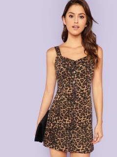 Thick Strap Button Up Leopard Dress
