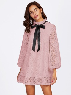 Lantern Sleeve Flower Lace Overlay Ruffle Tied Neck Dress