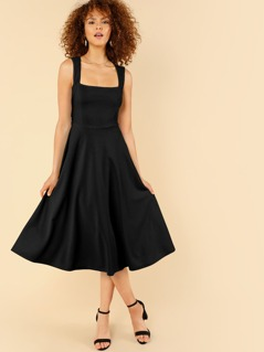 Thick Strap Fit & Flare Dress
