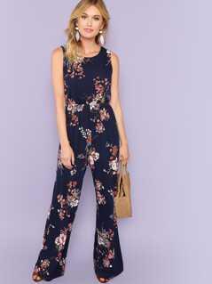Elastic Waist Wide Leg Floral Jumpsuit