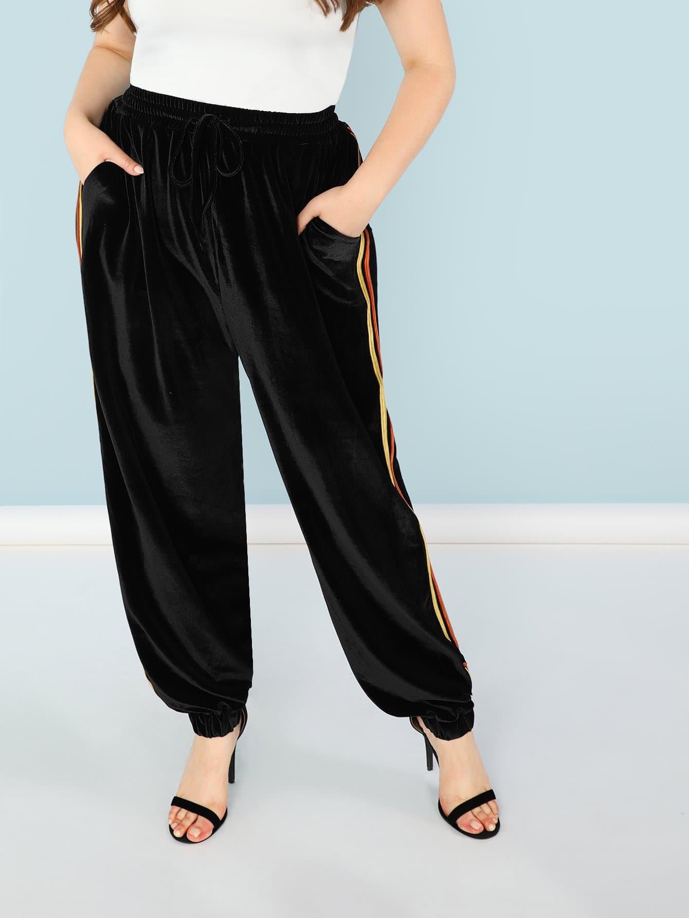 Plus Contrast Striped Side Drawstring Waist Sweatpants contrast striped side sweatpants