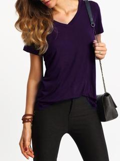 V-Cut Short Sleeve Casual T-shirt