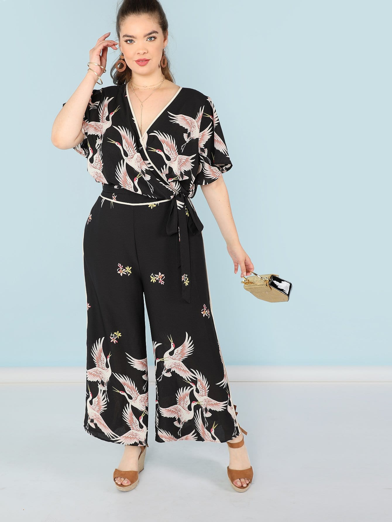 Plus Red-crowned Crane Print Surplice Wrap Top and Pants Set iron crowned