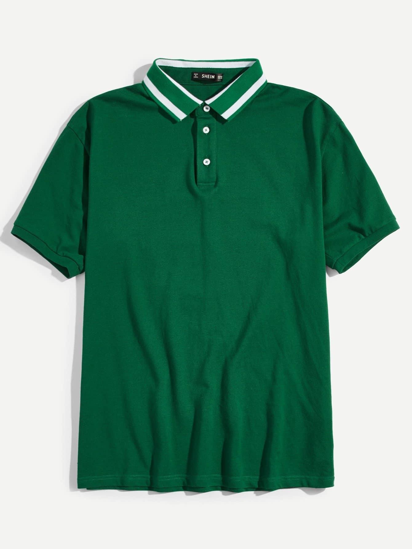 Купить Мужская полосатая полосатая рубашка-поло, null, SheIn