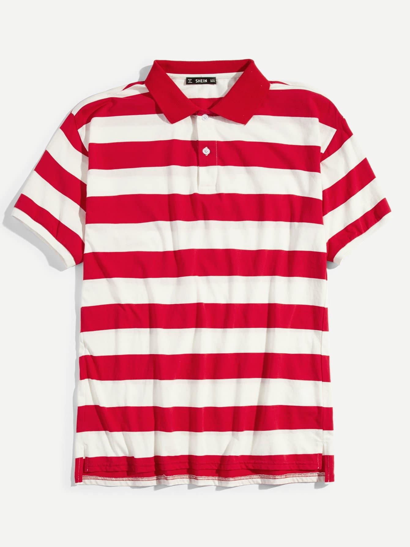 Купить Мужская полосатая рубашка-поло, null, SheIn