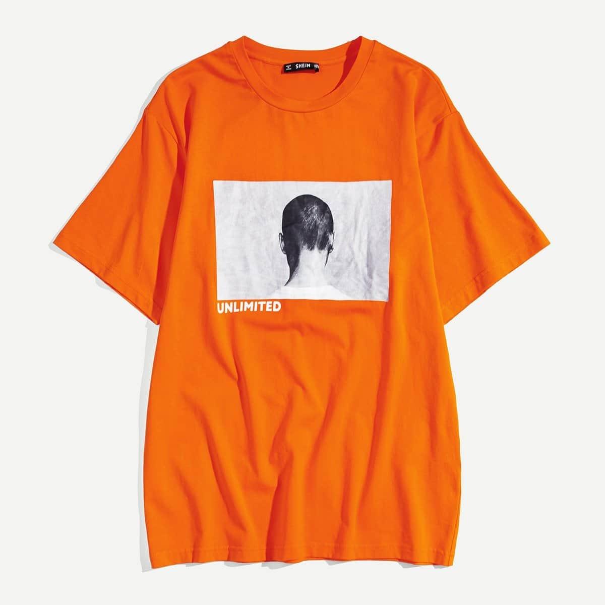 Mannen T-shirt met Letterprint en Figuratieve Opdruk