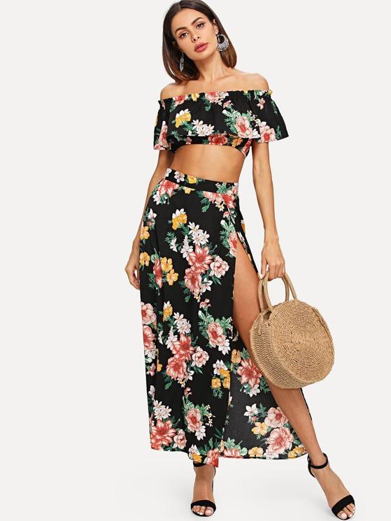 d7c89a47229 Off Shoulder Floral Print Crop Top & Split Skirt Set | MakeMeChic.COM