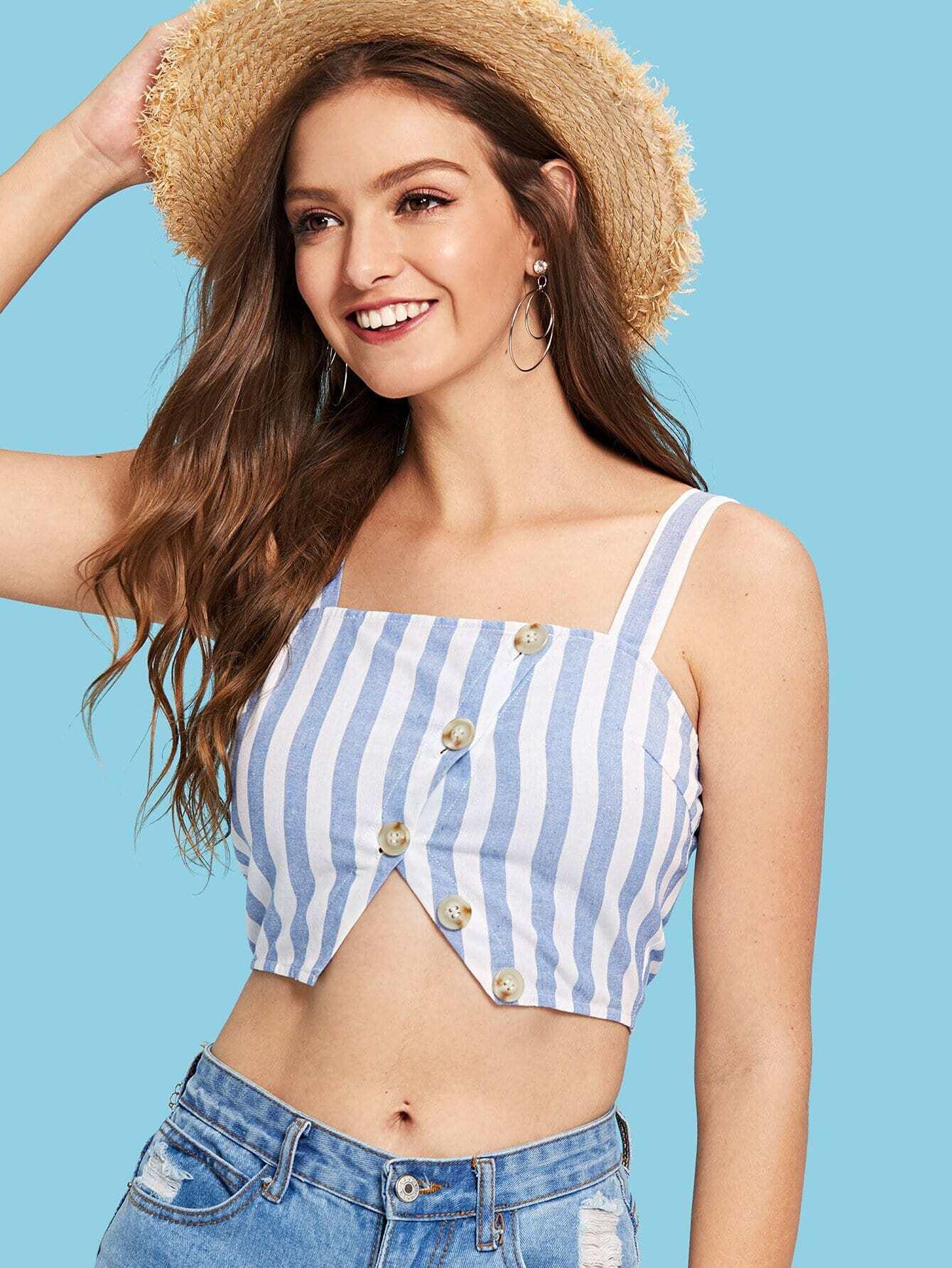 Split Hem Button Up Striped Cami Top solid split hem cami dress