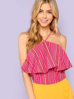 Striped Halter Top with Ruffles