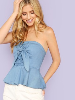 Pinched Tube Top with Tie Front