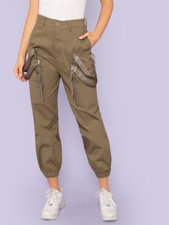 Cargo Pants with Zippers and Straps