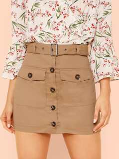Button Up Belted Mini Skirt with Dual Pockets