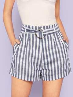Stripe Belted Shorts