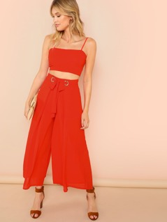 Chiffon Strap Crop Top and O-Ring Palazzo Pants