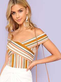 Stripe Cross Strap Off Shoulder Blouse