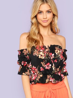 Floral Print Surplice Off Shoulder Top