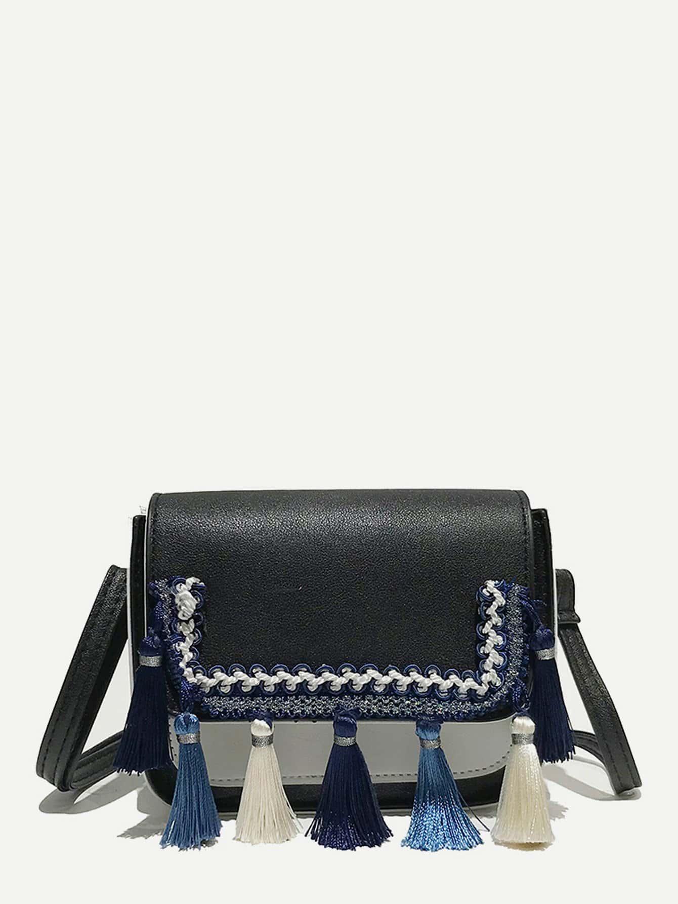 Two Tone Detail Tassel Crossbody Bag two tone detail buckle chain bag