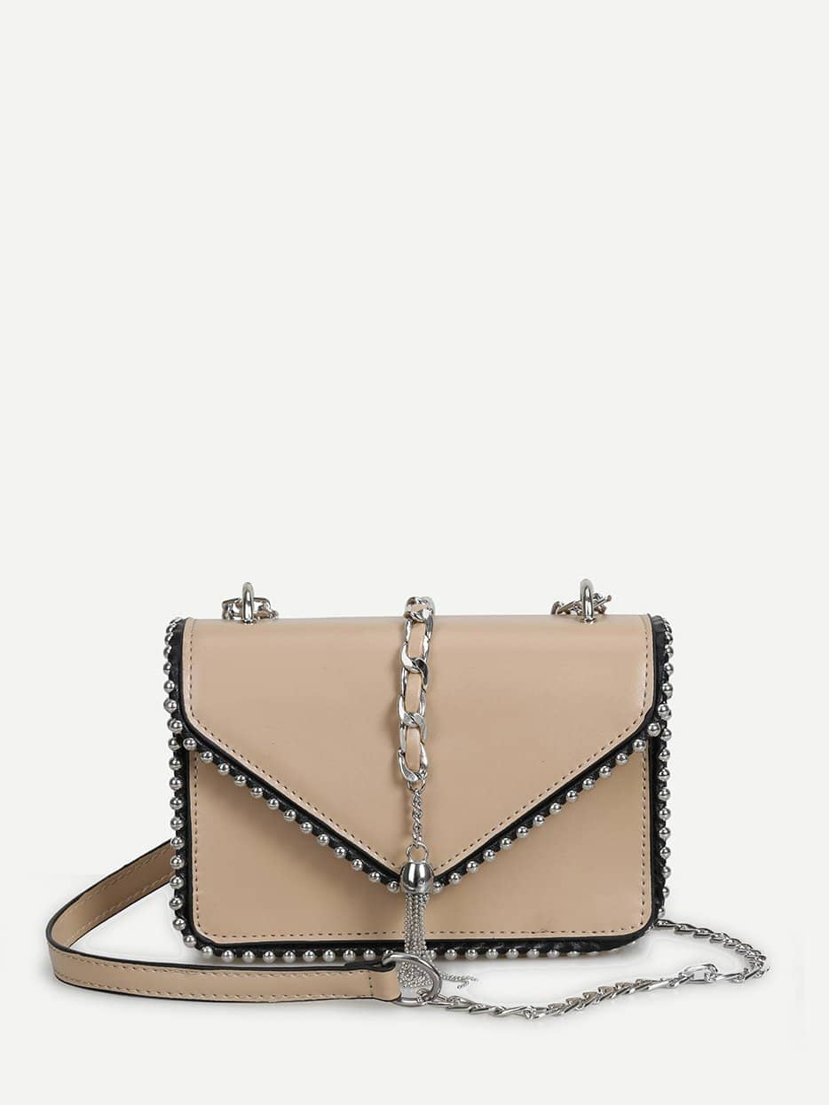 Tassel Detail Beaded Chain Bag tassel detail studded chain bag