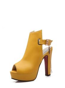 Peep Toe Buckle Strap Platform Heels