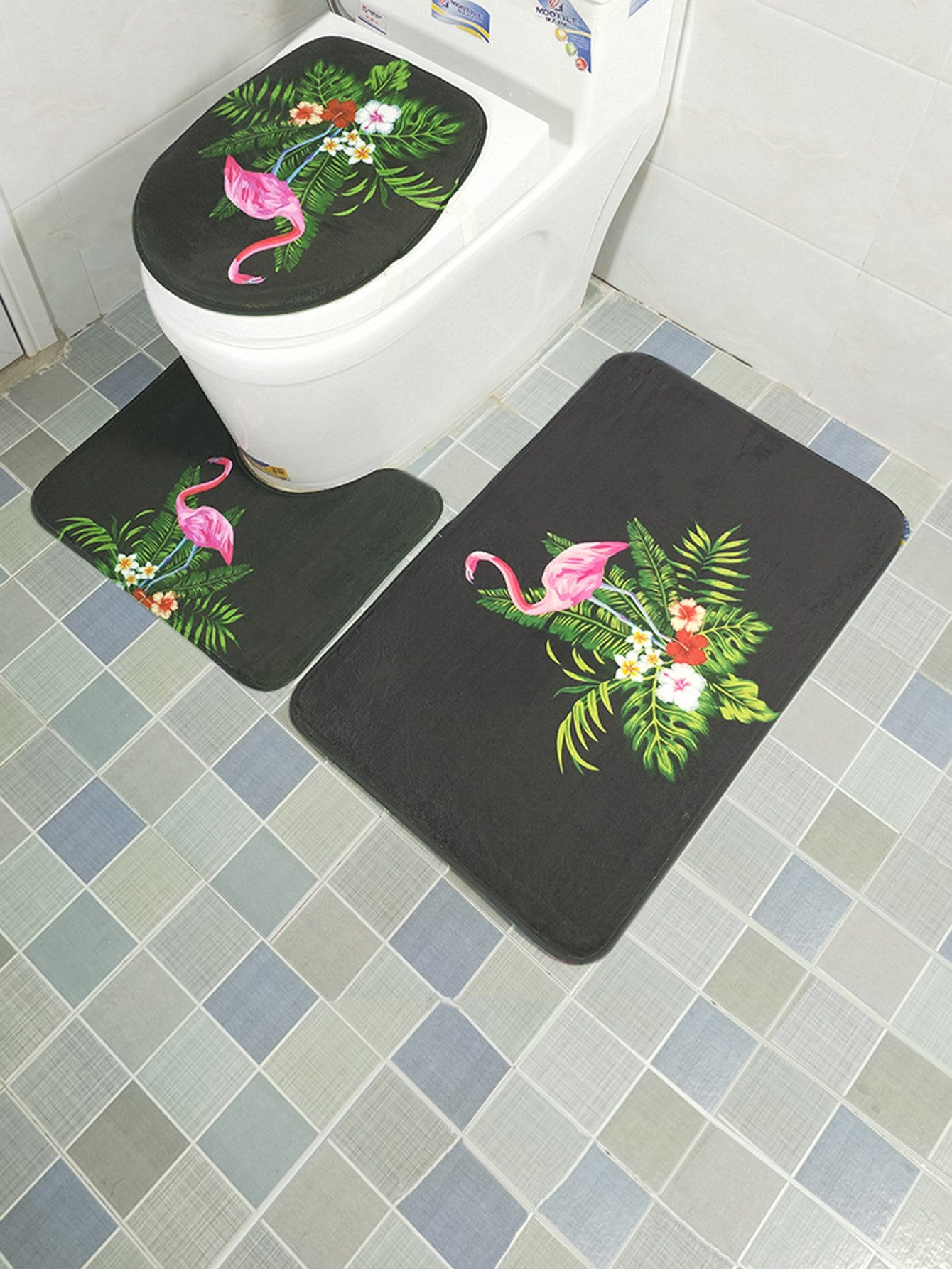 3Pcs Flamingos Print Bathroom Rug Set