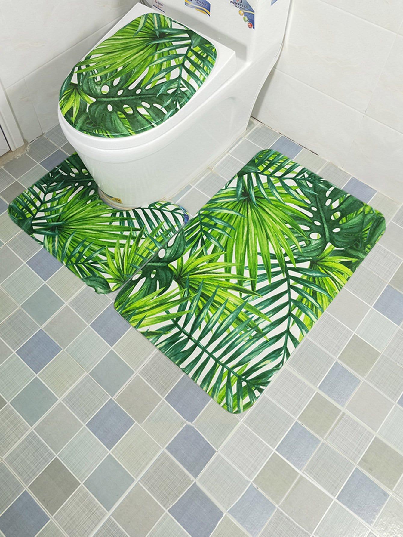 3Pcs Tropical leaves Print Bathroom Rug Set 3pcs fish bone print bathroom rug set