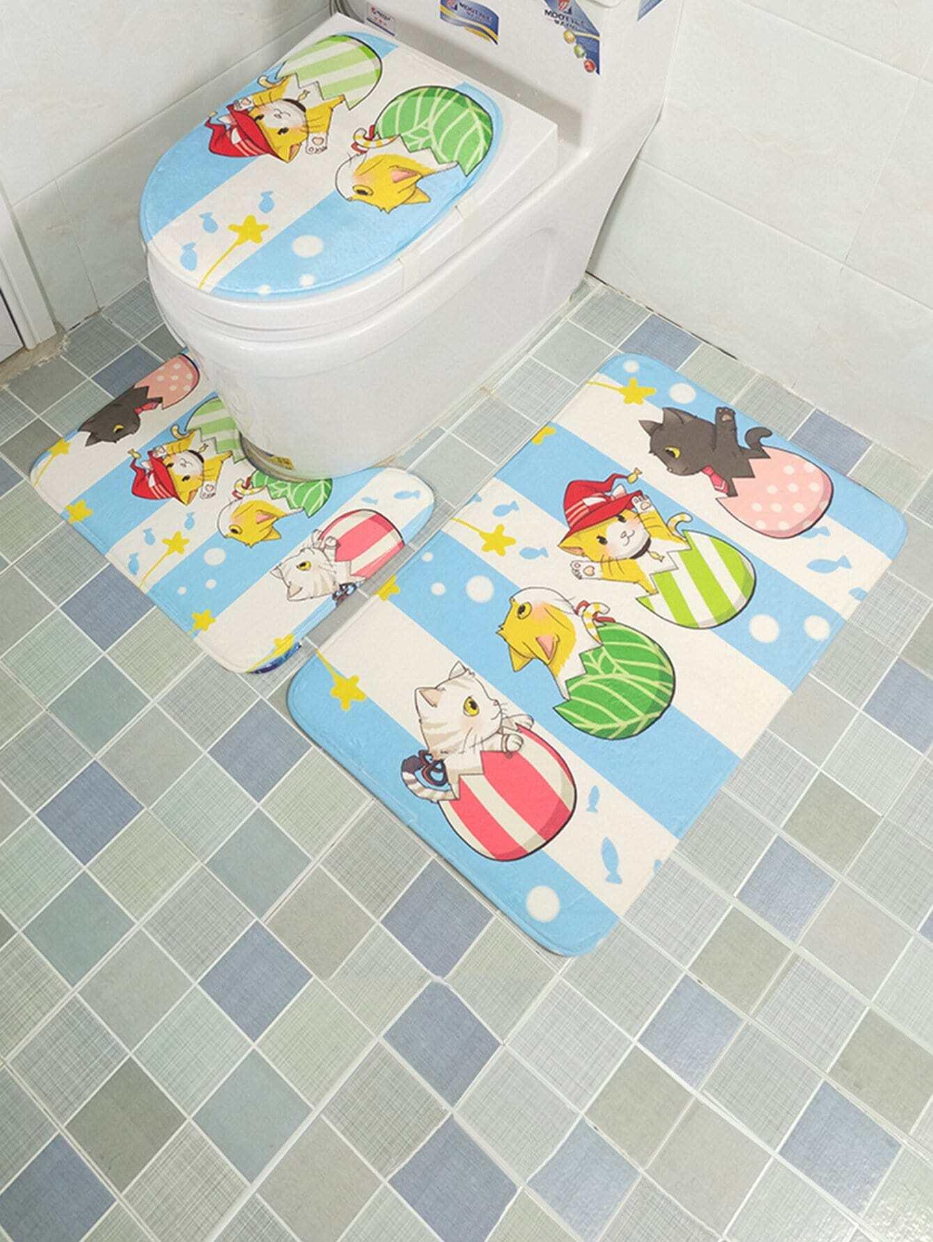 3Pcs Cartoon Print Bathroom Rug Set 3pcs fish bone print bathroom rug set