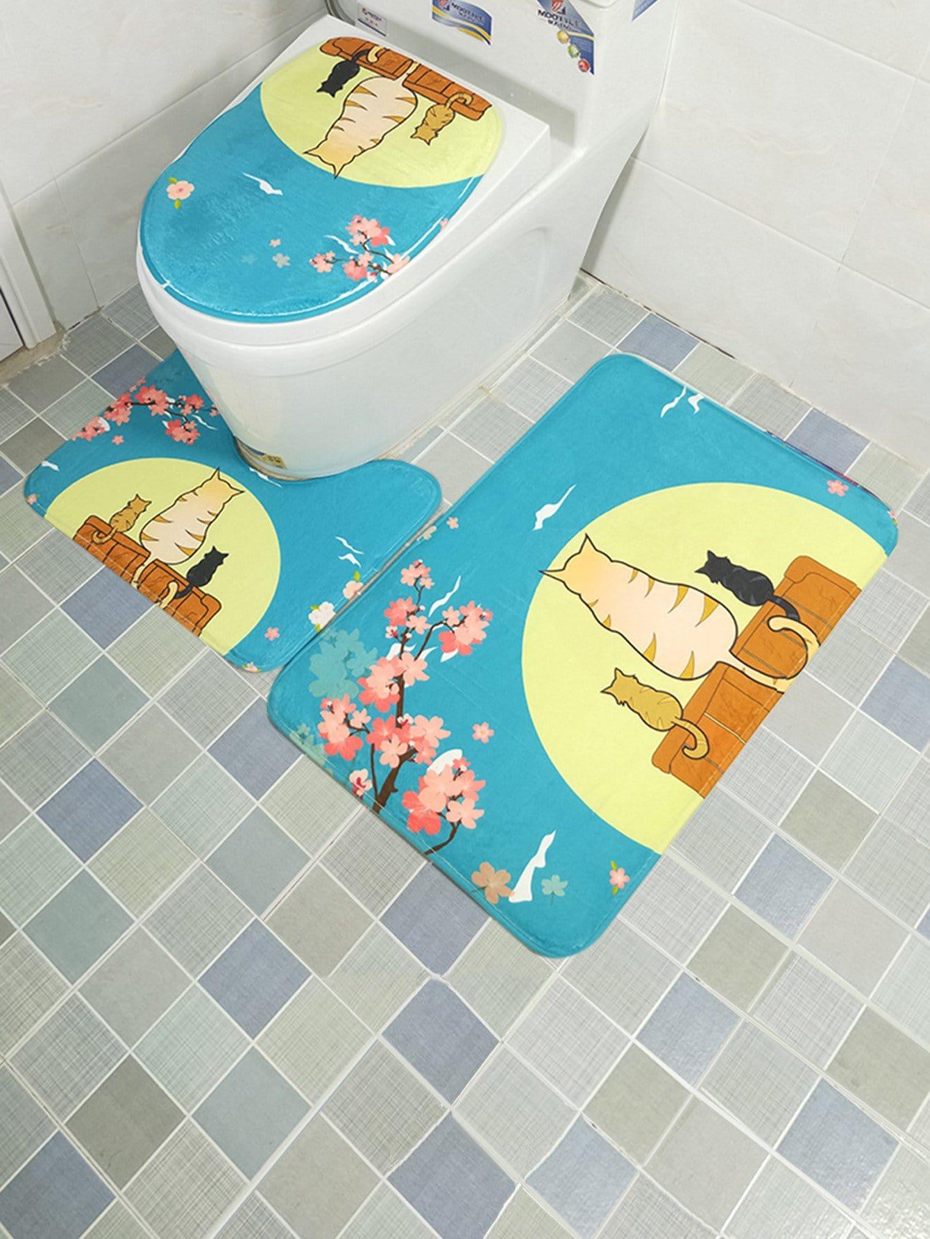 3Pcs Cat Print Bathroom Rug Set 3pcs fish bone print bathroom rug set