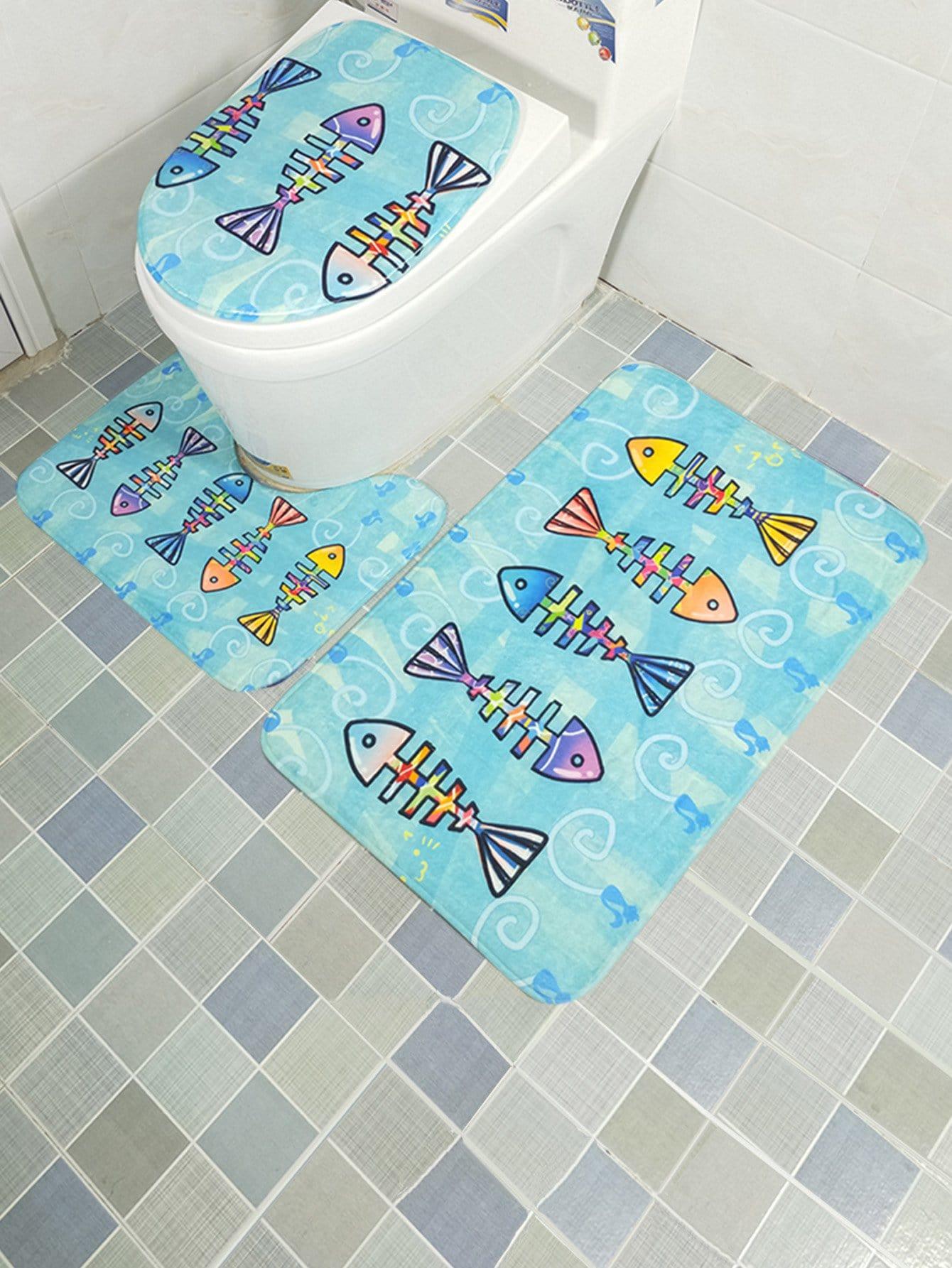 3Pcs Fish Bone Print Bathroom Rug Set 3pcs fish bone print bathroom rug set