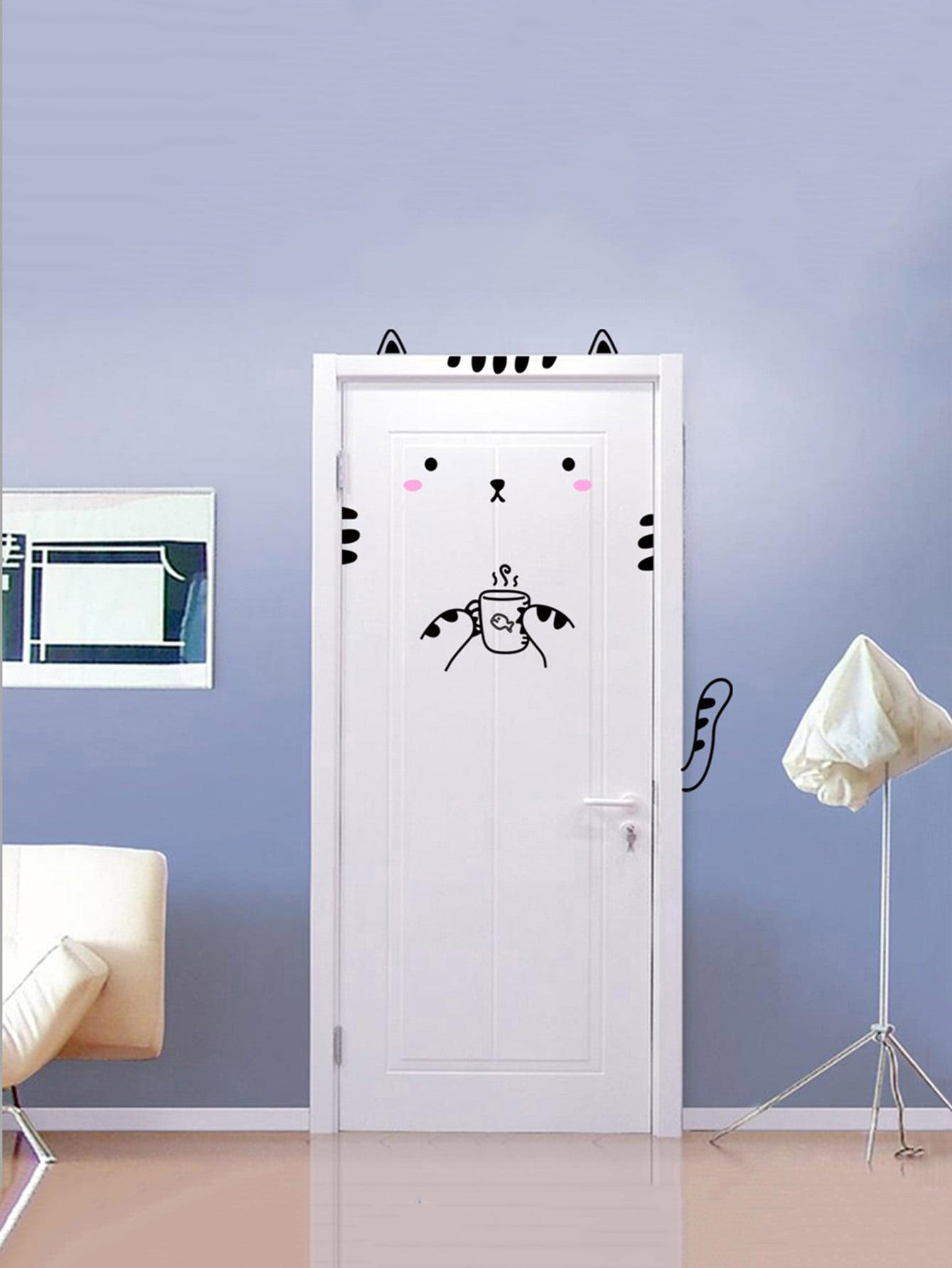 Cat Design Door Sticker elegant cat mirror cat bovine anti theft door aw4620c 02 copper luxury carved cat