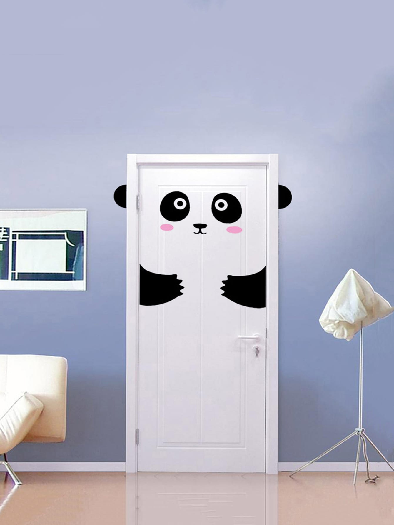Panda Design Door Sticker oversized feather door sticker