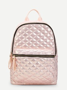 Pocket Front Quilted PU Backpack
