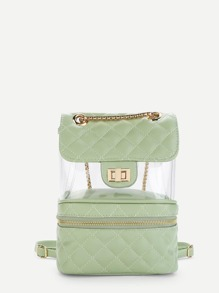 Clear Design Double Zipper Front Backpack