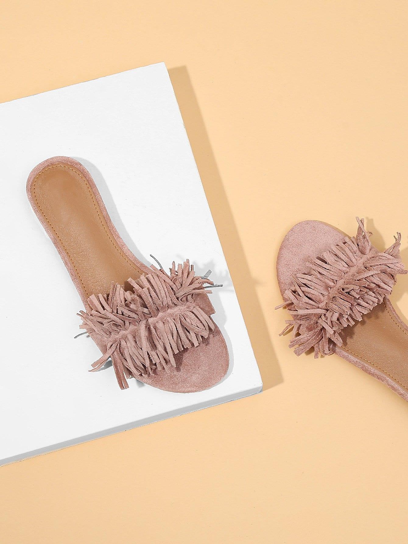Fringe Tassel Design Suede Slippers