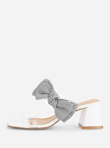 Clear Strap Heeled Sandals With Bow