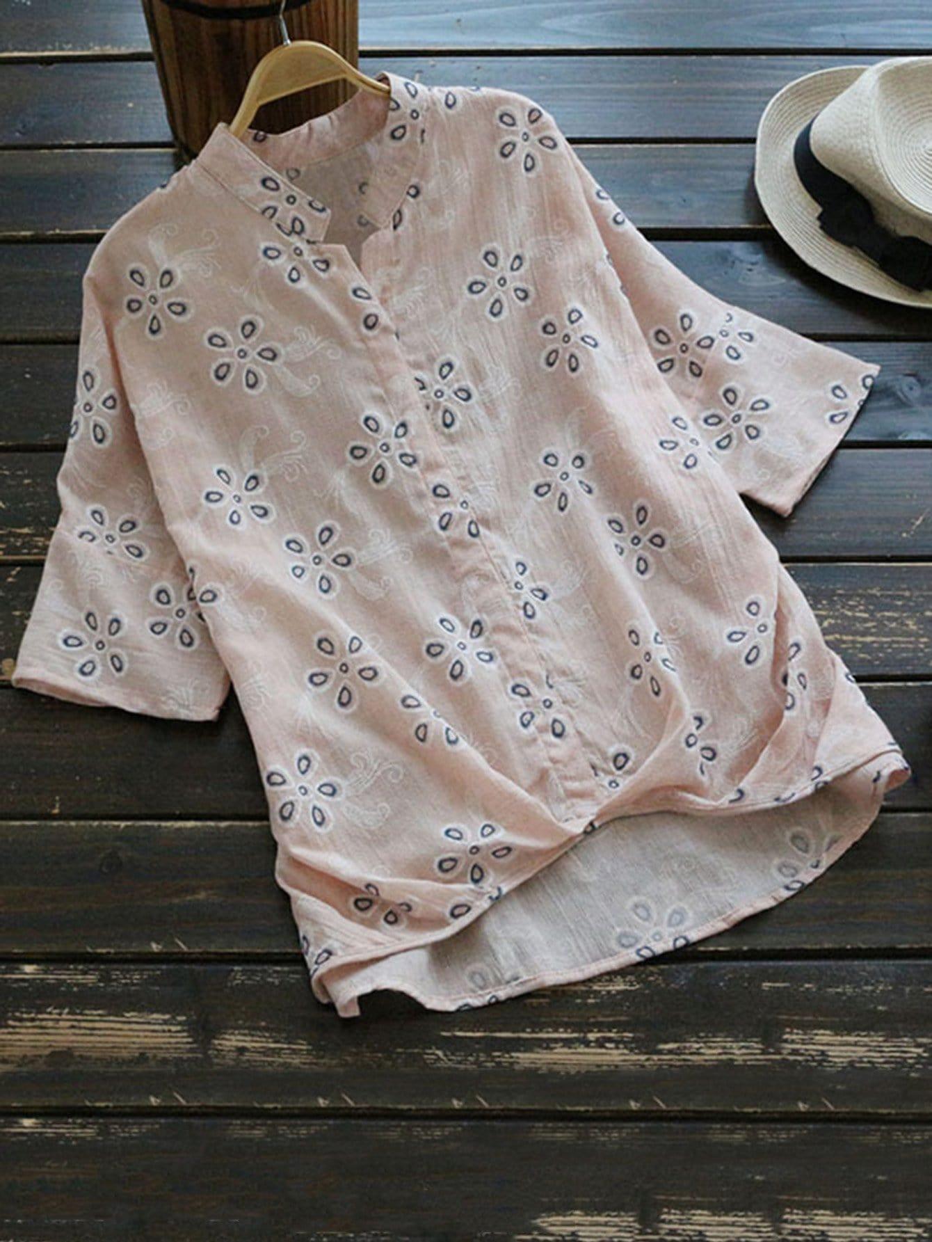 Купить Цветочная печатная блузка, null, SheIn