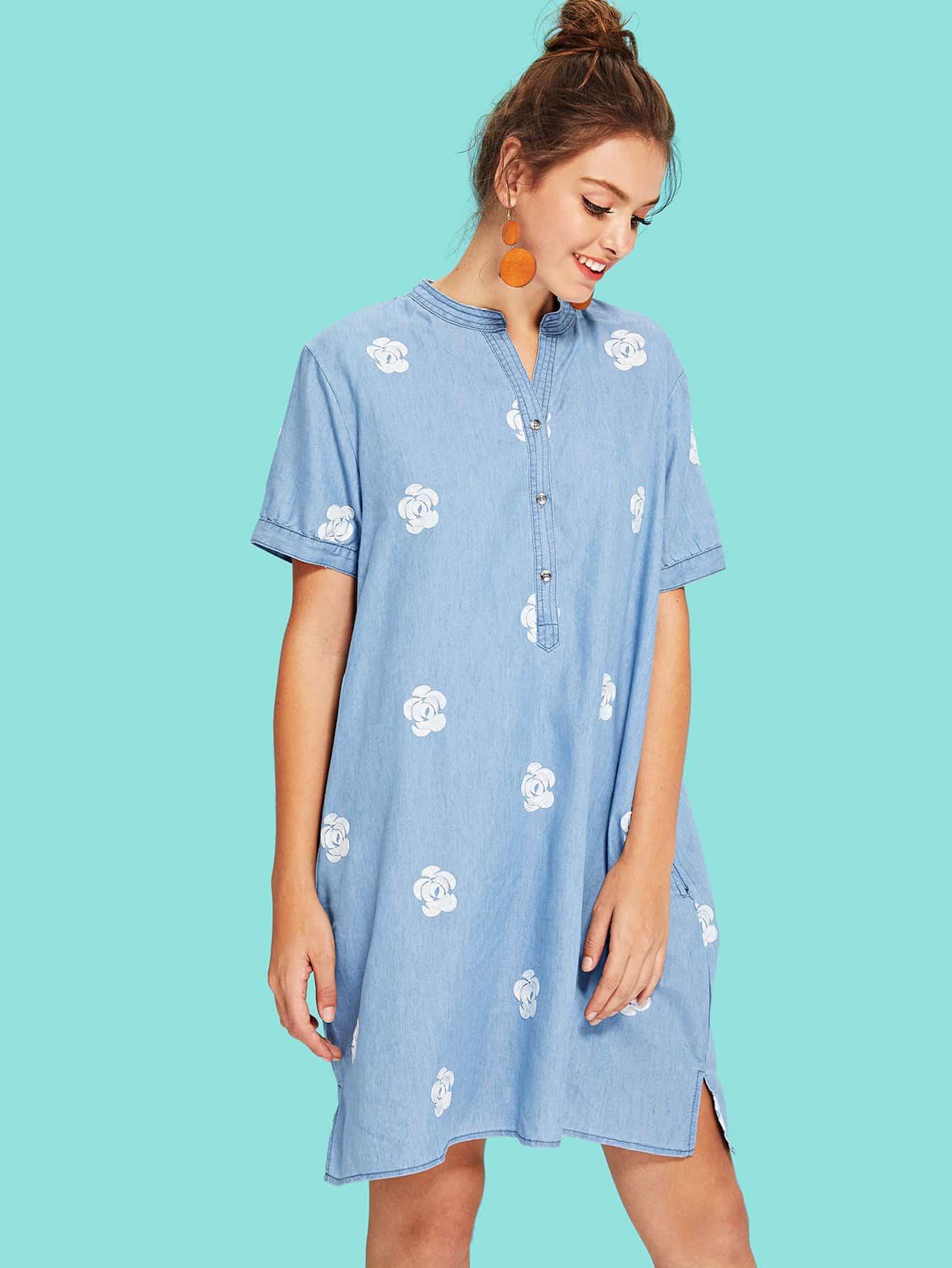 Купить Платье с вышивкой из вышивки, Luiza, SheIn