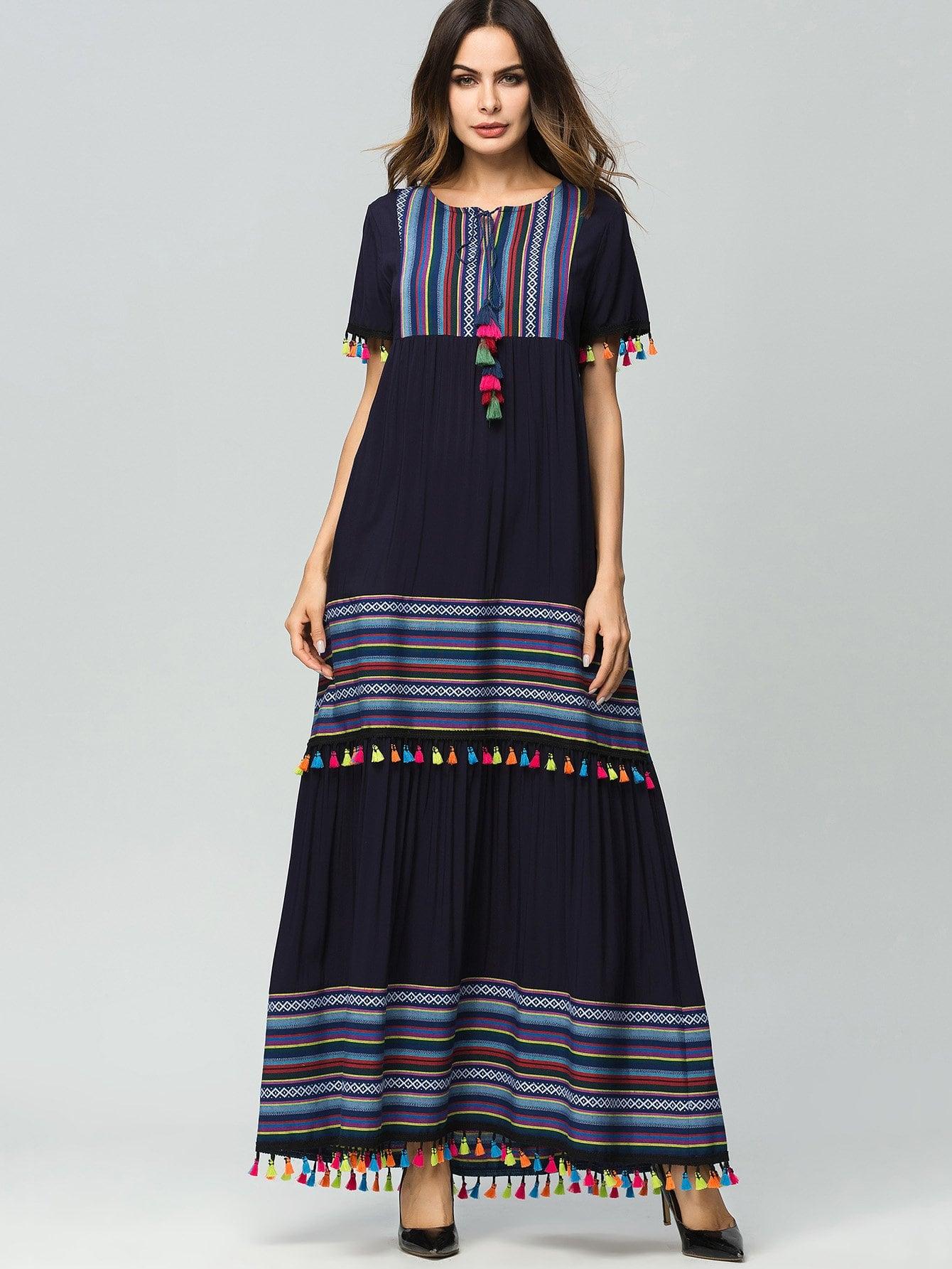 цена Tassel Striped Tie Neck Longline Dress