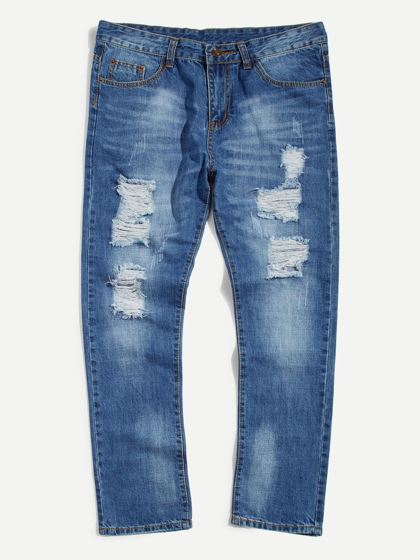 Men Bleach Wash Skinny Jeans