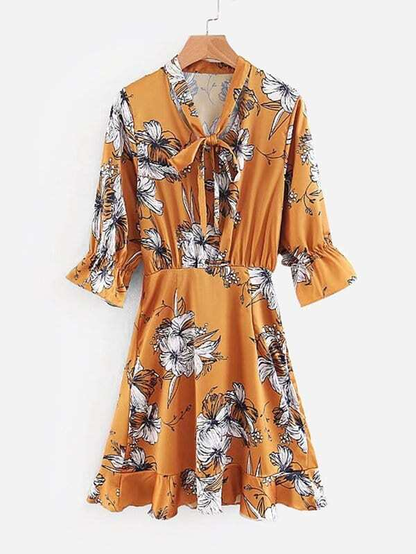 All Over Florals Tie Neck Dress all over florals m slit dress